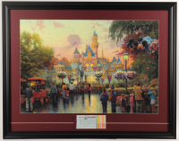 "Thomas Kinkade Walt Disney's ""Disneyland"" 25.5x32.5 Custom Framed Large Texture Print Display with Vintage Ticket Booklet at PristineAuction.com"