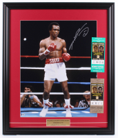 Sugar Ray Leonard Signed 22.5x26.5 Custom Framed Photo Display with (2) Boxing Match Tickets (Beckett COA) at PristineAuction.com