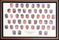 """NBA 49 Greatest Players"" 28x43 Custom Framed AP Lithograph Signed by (50) with Michael Jordan, Shaquille O'Neal, Wilt Chamberlain, Larry Bird, Bill Russell, Patrick Ewing, Kareem Abdul-Jabbar (JSA LOA) at PristineAuction.com"