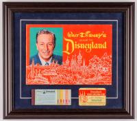 "Walt Disney's ""Disneyland"" 15.5x17.5 Custom Framed 1964 Original Guide Display with Vintage Ticket Booklet & Membership Card at PristineAuction.com"