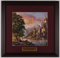 "Thomas Kinkade Walt Disney's ""Beauty & the Beast"" 18x18.5 Custom Framed Print Display at PristineAuction.com"