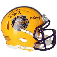 "Joe Burrow Signed LSU Tigers 2019 National Champs Mini Speed Helmet Inscribed ""19 Champs"" (Fanatics Hologram) at PristineAuction.com"