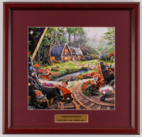 "Thomas Kinkade Walt Disney's ""Snow White and the Seven Dwarfs"" 17x17.5 Custom Framed Print Display at PristineAuction.com"