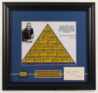 """John Wooden Signed """"The Pyramid of Success"""" 15.5x16.5 Custom Framed Cut Display Inscribed """"UCLA"""" with UCLA Pin (PSA COA) at PristineAuction.com"""