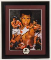 Muhammad Ali 16x19 Custom Framed Print Display with 1960's Muhammad Ali Pin at PristineAuction.com