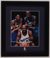 Kobe Bryant, Kevin Garnett & Michael Jordan 13x15 Custom Framed Photo Display with NBA Pin at PristineAuction.com