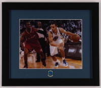 Stephen Curry Warriors 13x15 Custom Framed Photo Display with Warriors Pin at PristineAuction.com