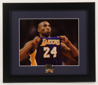 Kobe Bryant Lakers 13x15 Custom Framed Photo Display with 2002 NBA Finals Pin at PristineAuction.com