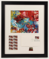 "LeRoy Neiman ""Bear Bryant"" 16x19 Custom Framed Print Display with FDC Envelope & Uncut Stamp Sheet at PristineAuction.com"