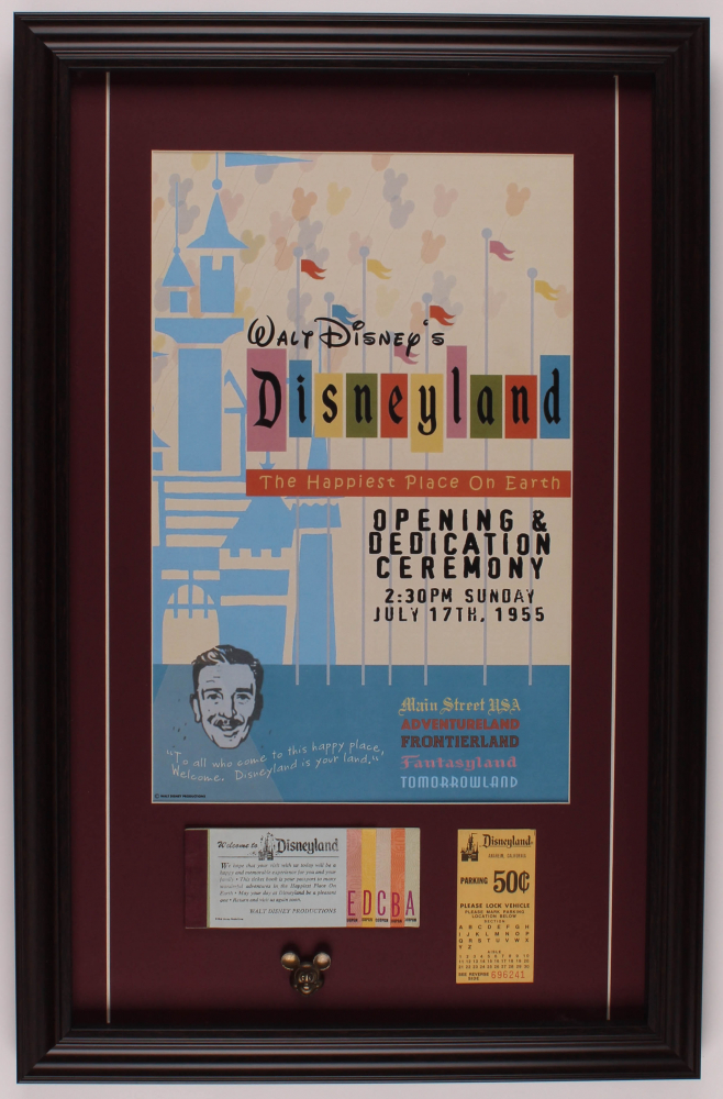 Disneyland 17.5x27 Custom Framed Print Display with Parking Pass & Ticket Booklet at PristineAuction.com