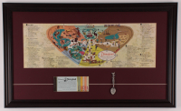 Disneyland 17.5x29 Custom Framed 1959 Original Map Display with Vintage Ticket Booklet & Vintage Spoon at PristineAuction.com
