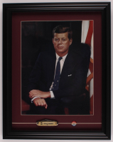 John F. Kennedy 17x21.5 Custom Framed Vintage 1960's Presidential Print Display with Vintage Pocketknife & Campaign Pin at PristineAuction.com