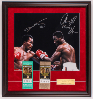 "Sugar Ray Leonard & Tommy ""Hitman"" Hearns Signed 22.5x24 Custom Framed Photo Display with (2) Boxing Tickets (PSA COA) at PristineAuction.com"