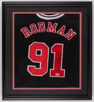 Dennis Rodman Signed Bulls 21.75x23.75 Custom Framed Jersey Display (PSA Hologram) at PristineAuction.com