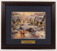 "Thomas Kinkade Walt Disney's ""Mickey & Minnie Ice Staking"" 16x18.5 Custom Framed Print Display at PristineAuction.com"