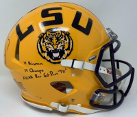 "Joe Burrow Signed LSU Tigers LE Full-Size Authentic On-Field Speed Helmet Inscribed ""19 Champs"", ""19 Heisman"" and ""NCAA Rec 60 Pass TDs."" (Fanatics Hologram) at PristineAuction.com"