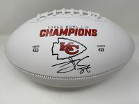 Travis Kelce Signed Chiefs Super Bowl LIV Champions Logo Football (Fanatics Hologram) at PristineAuction.com
