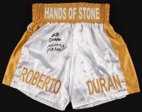 "Roberto Duran Signed Boxing Trunks Inscribed ""Manos de Piedra"" (Beckett COA) at PristineAuction.com"