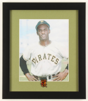 Roberto Clemente Pirates 13x15 Custom Framed Photo Display with Roberto Clemente Commemorative Pin at PristineAuction.com