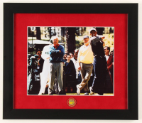 Tiger Woods, Jack Nicklaus & Arnold Palmer 13x15 Custom Framed Photo Display with Original Masters Pin at PristineAuction.com