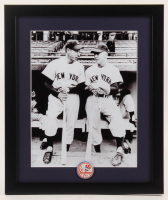 Joe DiMaggio & Mickey Mantle Yankees 16x19 Custom Framed Photo Display with Vintage Yankees Pin at PristineAuction.com