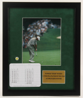 """Tiger Woods """"The Masters"""" 16x19 Custom Framed Photo Display with Official Augusta National Scorecard & Pin at PristineAuction.com"""