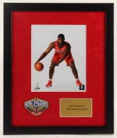 Zion Williamson Pelicans 16x19 Custom Framed Photo Display with Pelicans Patch at PristineAuction.com
