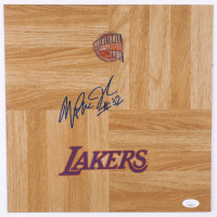 Magic Johnson Signed Lakers Hall Of Fame Logo 12x12 Floor Piece (JSA COA) at PristineAuction.com