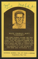 """Waite Hoyt Signed Gold Hall of Fame Plaque Postcard Inscribed """"Good Luck"""" (Beckett COA) at PristineAuction.com"""