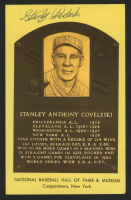 Stanley Coveleski Signed Gold Hall of Fame Plaque Postcard (Beckett COA) at PristineAuction.com