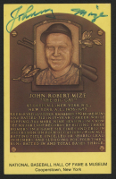Johnny Mize Signed Gold Hall of Fame Plaque Postcard (Beckett COA) at PristineAuction.com