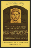Bill Terry Signed Gold Hall of Fame Plaque Postcard (Beckett COA) at PristineAuction.com