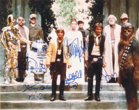 """""""Star Wars: Episode IV - A New Hope"""" 11x14 Photo Signed by (6) with Mark Hamill, Harrison Ford, Carrie Fisher, Peter Mayhew, Anthony Daniels & Kenny Baker with Multiple Inscriptions (PSA LOA) at PristineAuction.com"""