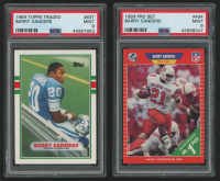 Lot of (2) Barry Sanders PSA Graded 9 Football Cards with 1989 Pro Set #494 RC & 1989 Topps Traded #83T RC at PristineAuction.com