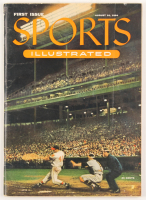 Original 1954 First Issue Sports Illustrated Magazine with Uncut Sheet of 1954 Topps Baseball Card Inserts at PristineAuction.com