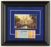 "Thomas Kinkade 50th Anniversary ""Disneyland"" 11.5x12.5 Custom Framed Print Display with Vintage 1970s Coupon Book at PristineAuction.com"
