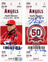 "Lot of (2) Mike Trout Signed First Game & First Hit Tickets Inscribed ""7-8-11 MLB Debut"" & 1st Hit Game"" (MLB Hologram) at PristineAuction.com"