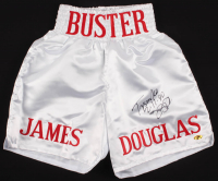 """James """"Buster"""" Douglas Signed Boxing Trunks Inscribed """"Tyson KO 2/11/90"""" (MAB Hologram) at PristineAuction.com"""
