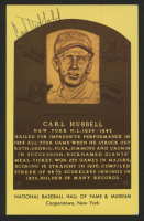 Carl Hubbell Signed Gold Hall of Fame Plaque Postcard (Beckett COA) at PristineAuction.com