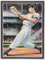 Joe DiMaggio Signed Yankees 18x24 Custom Matted Poster (PSA LOA) at PristineAuction.com