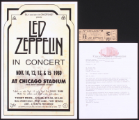 Lot of (2) Led Zeppelin Concert Items With (1) 11x17 Concert Poster Print & (1) 1980 Concert Ticket (Chicago Stadium Corporation LOA) at PristineAuction.com