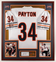 Walter Payton Signed Bears 32x36 Custom Framed Cut Display with (2) Career Achievement Pins (PSA) at PristineAuction.com