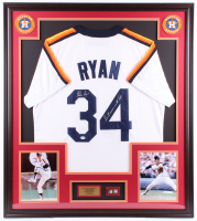 "Nolan Ryan Signed 32x36 Custom Framed Jersey Display Inscribed ""Don't Mess With Texas!"" with 1999 Hall of Fame Induction Pin (PSA COA) at PristineAuction.com"