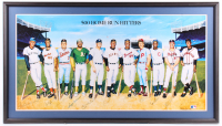 500 Home Run Club 23.5x41.5 Custom Framed Print Display Signed by (11) with Mickey Mantle, Ted Williams, Frank Robinson, Willie Mays, Hank Aaron (JSA ALOA) at PristineAuction.com