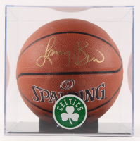 Larry Bird Signed NBA Logo Basketball with Display Case (Bird Hologram) at PristineAuction.com