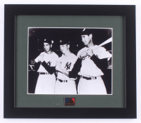 Joe DiMaggio, Mickey Mantle & Ted Williams 13x15 Custom Framed Photo Display with MLB 125th Anniversary Pin at PristineAuction.com