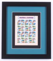 """Vintage """"Baseball Sluggers"""" 13x15 Custom Framed Uncut Stamp Sheet at PristineAuction.com"""