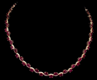 36.55ct Natural Ruby & White Zircon Necklace (UGL Appraisal) at PristineAuction.com