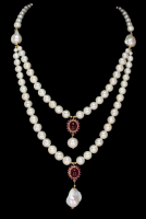Freshwater Cultured Pearl & 14.00ct Genuine Ruby Necklace (UGL Appraisal) at PristineAuction.com