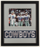 Troy Aikman, Emmitt Smith & Michael Irvin Cowboys 16x19 Custom Framed Photo Display with Vintage Cowboys Jersey Patch at PristineAuction.com